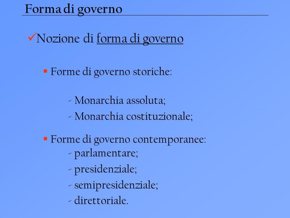 Forma di governo Nozione di forma di governo Forme di governo storiche: - Monarchia assoluta; - Monarchia costituzionale; Forme di governo contemporanee: - parlamentare; - presidenziale; - semipresidenziale; - direttoriale.