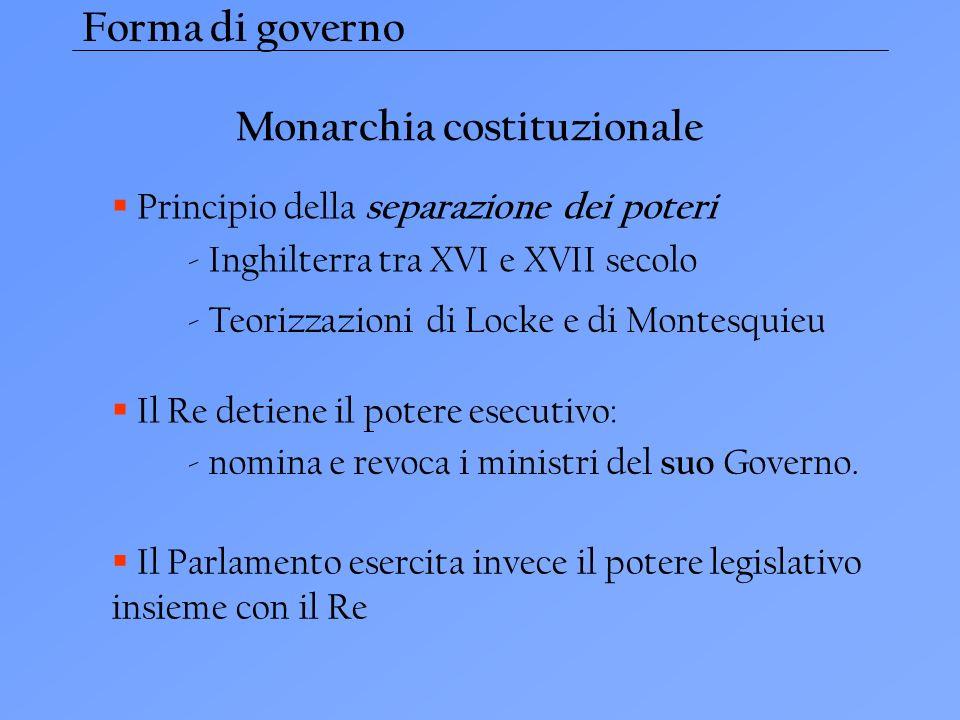 Monarchia costituzionale Principio della separazione dei poteri Il Re detiene il potere esecutivo: Il Parlamento esercita invece il potere legislativo insieme con il Re - nomina e revoca i ministri del suo Governo.