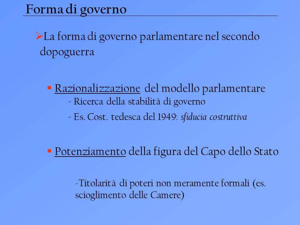 Forma di governo La forma di governo parlamentare nel secondo dopoguerra Razionalizzazione del modello parlamentare - Ricerca della stabilità di governo - Es.