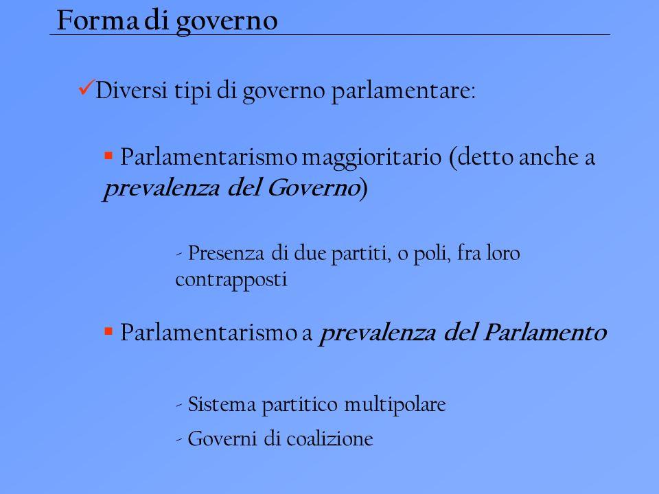 Forma di governo Diversi tipi di governo parlamentare: Parlamentarismo maggioritario (detto anche a prevalenza del Governo ) - Presenza di due partiti, o poli, fra loro contrapposti Parlamentarismo a prevalenza del Parlamento - Sistema partitico multipolare - Governi di coalizione