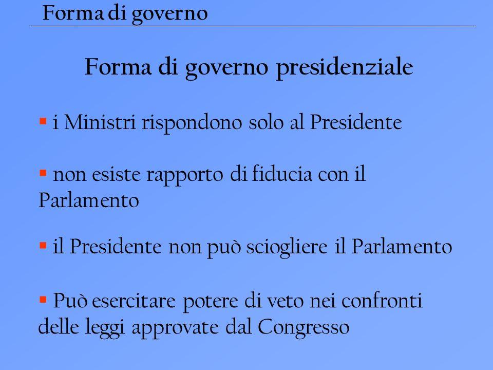 Forma di governo i Ministri rispondono solo al Presidente non esiste rapporto di fiducia con il Parlamento il Presidente non può sciogliere il Parlamento Può esercitare potere di veto nei confronti delle leggi approvate dal Congresso Forma di governo presidenziale