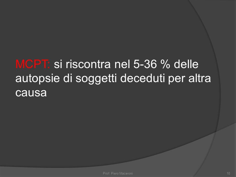 MCPT: si riscontra nel 5-36 % delle autopsie di soggetti deceduti per altra causa 10Prof.