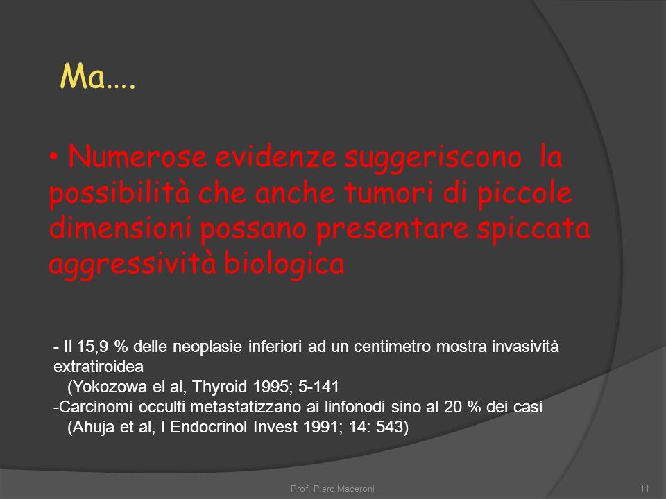 11 - Il 15,9 % delle neoplasie inferiori ad un centimetro mostra invasività extratiroidea (Yokozowa el al, Thyroid 1995; 5-141 -Carcinomi occulti metastatizzano ai linfonodi sino al 20 % dei casi (Ahuja et al, I Endocrinol Invest 1991; 14: 543) Numerose evidenze suggeriscono la possibilità che anche tumori di piccole dimensioni possano presentare spiccata aggressività biologica Ma….