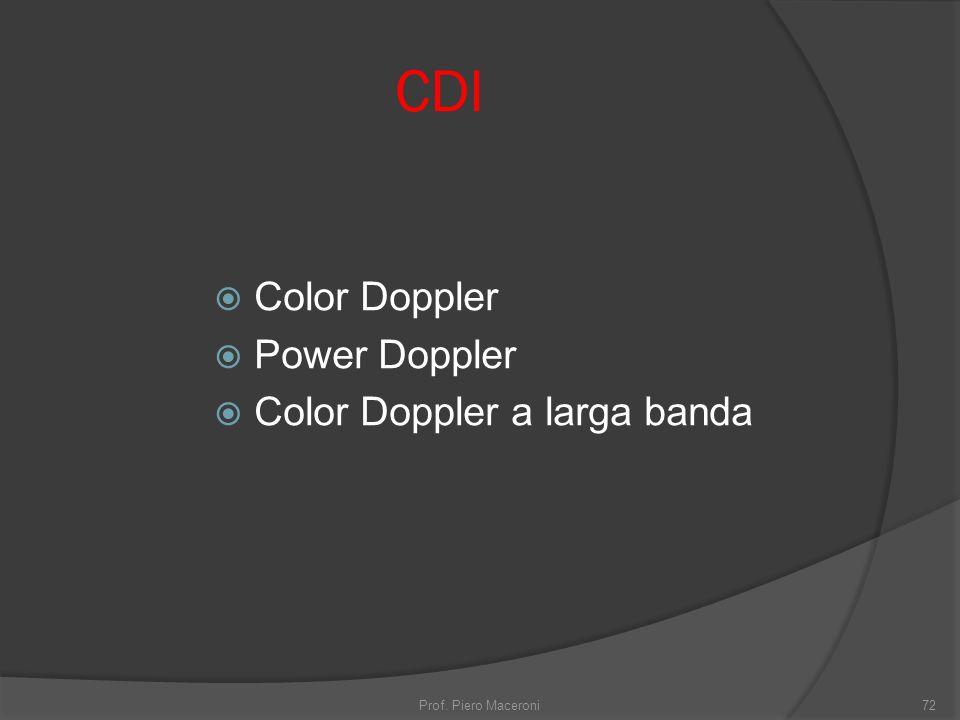 CDI Color Doppler Power Doppler Color Doppler a larga banda Prof. Piero Maceroni72