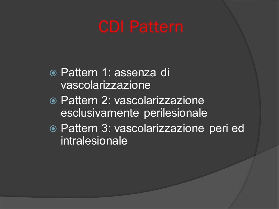 CDI Pattern Pattern 1: assenza di vascolarizzazione Pattern 2: vascolarizzazione esclusivamente perilesionale Pattern 3: vascolarizzazione peri ed intralesionale