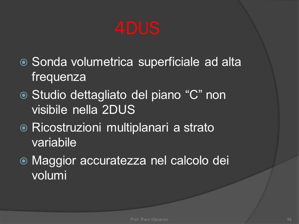 4DUS Sonda volumetrica superficiale ad alta frequenza Studio dettagliato del piano C non visibile nella 2DUS Ricostruzioni multiplanari a strato variabile Maggior accuratezza nel calcolo dei volumi Prof.