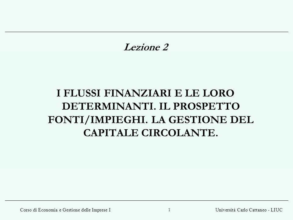 Corso di Economia e Gestione delle Imprese IUniversità Carlo Cattaneo - LIUC 22 Le leve fondamentali del capitale circolante netto sono: i crediti (commerciali) i debiti il magazzino Le leve del capitale circolante netto
