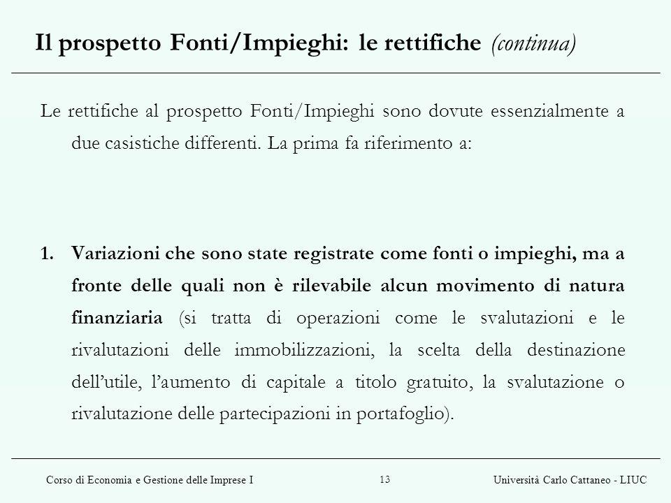 Corso di Economia e Gestione delle Imprese IUniversità Carlo Cattaneo - LIUC 13 Le rettifiche al prospetto Fonti/Impieghi sono dovute essenzialmente a