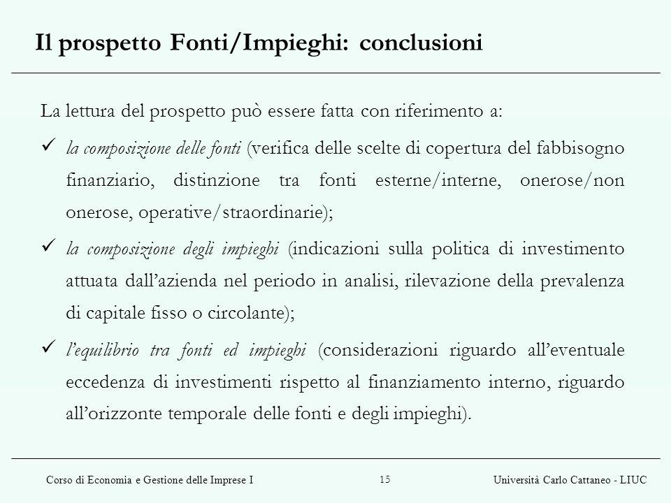 Corso di Economia e Gestione delle Imprese IUniversità Carlo Cattaneo - LIUC 15 La lettura del prospetto può essere fatta con riferimento a: la compos