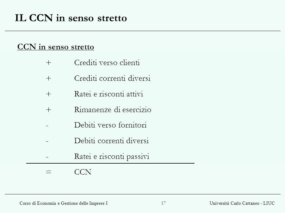Corso di Economia e Gestione delle Imprese IUniversità Carlo Cattaneo - LIUC 17 CCN in senso stretto +Crediti verso clienti +Crediti correnti diversi