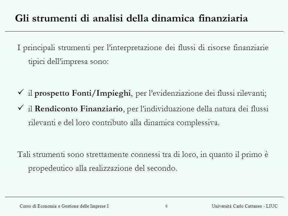 Corso di Economia e Gestione delle Imprese IUniversità Carlo Cattaneo - LIUC 7 Il prospetto Fonti/Impieghi evidenzia quali sono state le fonti di finanziamento (fonti) utilizzate dallazienda per effettuare determinati investimenti (impieghi) e consente di esprimere un giudizio di validità riguardo tali scelte.