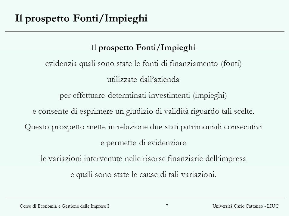 Corso di Economia e Gestione delle Imprese IUniversità Carlo Cattaneo - LIUC 7 Il prospetto Fonti/Impieghi evidenzia quali sono state le fonti di fina