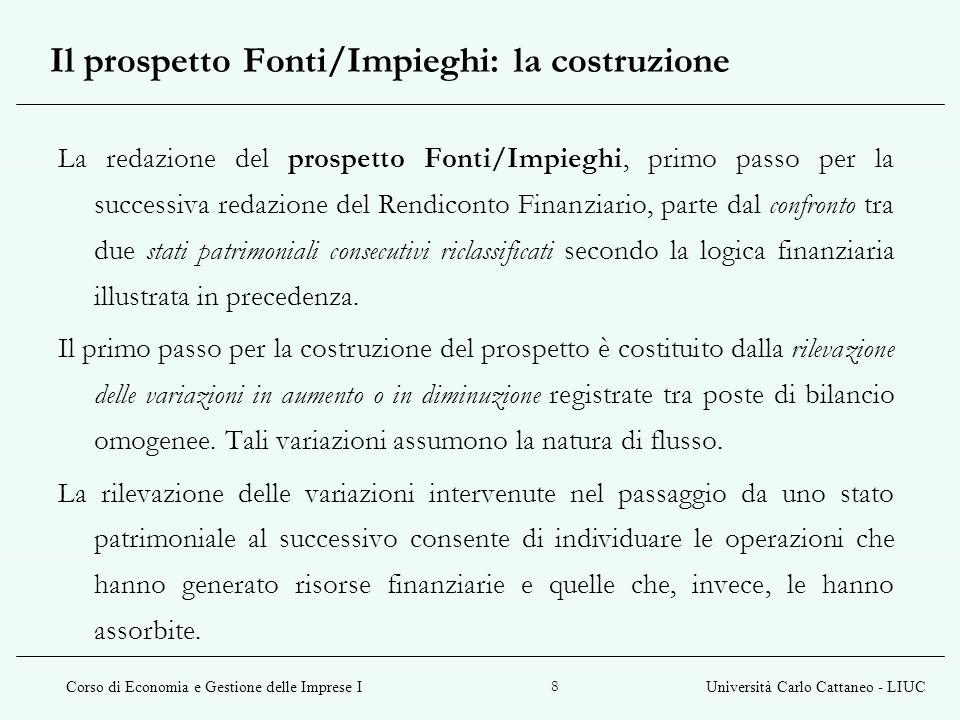 Corso di Economia e Gestione delle Imprese IUniversità Carlo Cattaneo - LIUC 8 La redazione del prospetto Fonti/Impieghi, primo passo per la successiv