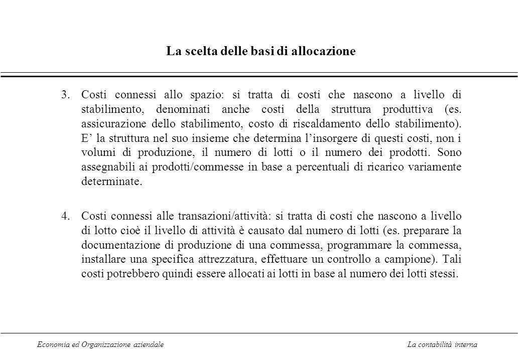 Economia ed Organizzazione aziendaleLa contabilità interna La scelta delle basi di allocazione 3.Costi connessi allo spazio: si tratta di costi che nascono a livello di stabilimento, denominati anche costi della struttura produttiva (es.