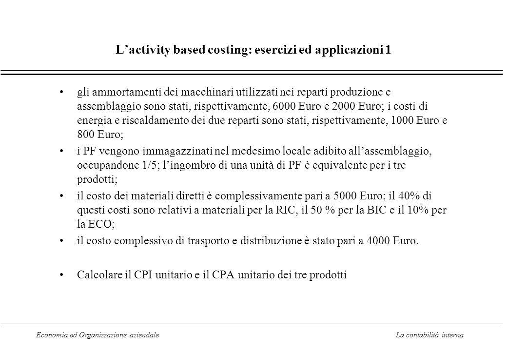 Economia ed Organizzazione aziendaleLa contabilità interna Lactivity based costing: esercizi ed applicazioni 1 gli ammortamenti dei macchinari utilizz