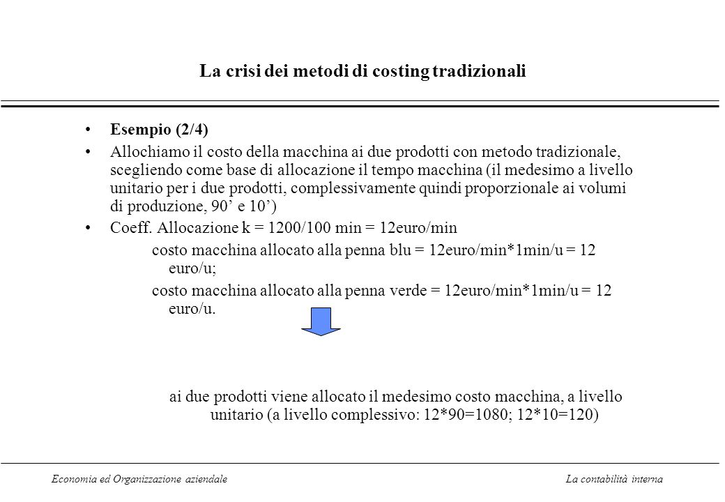 Economia ed Organizzazione aziendaleLa contabilità interna La crisi dei metodi di costing tradizionali Esempio (2/4) Allochiamo il costo della macchin