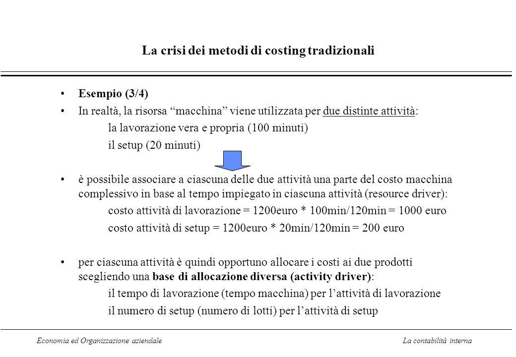 Economia ed Organizzazione aziendaleLa contabilità interna La crisi dei metodi di costing tradizionali Esempio (3/4) In realtà, la risorsa macchina vi