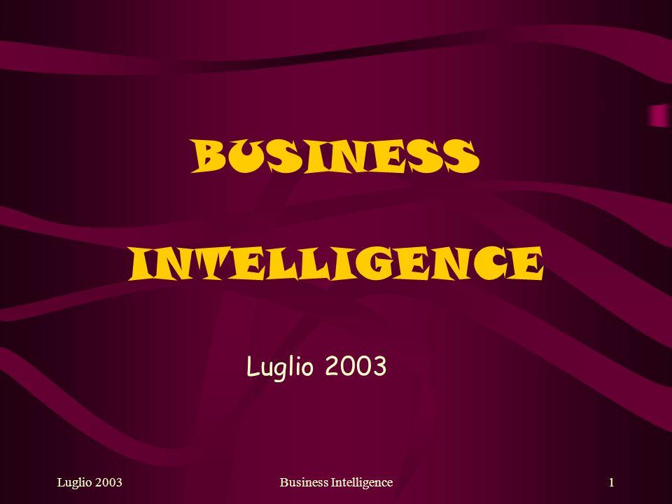 Luglio 2003Business Intelligence12 Campi applicativi nellorganizzazione di campagne di marketing (modelli di scoring); nellapportare strategie contro il fenomeno degli abbandoni (modelli di churn); nella pianificazione commerciale (segmentazione del portafoglio clienti); nella previsione di tendenze future.