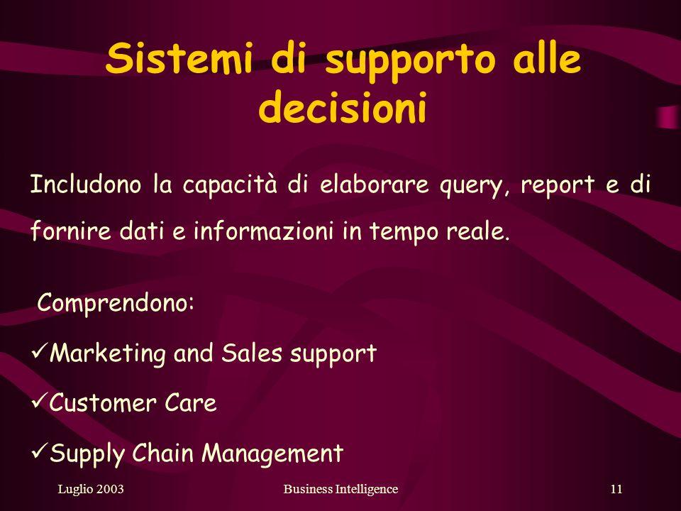 Luglio 2003Business Intelligence11 Sistemi di supporto alle decisioni Includono la capacità di elaborare query, report e di fornire dati e informazioni in tempo reale.