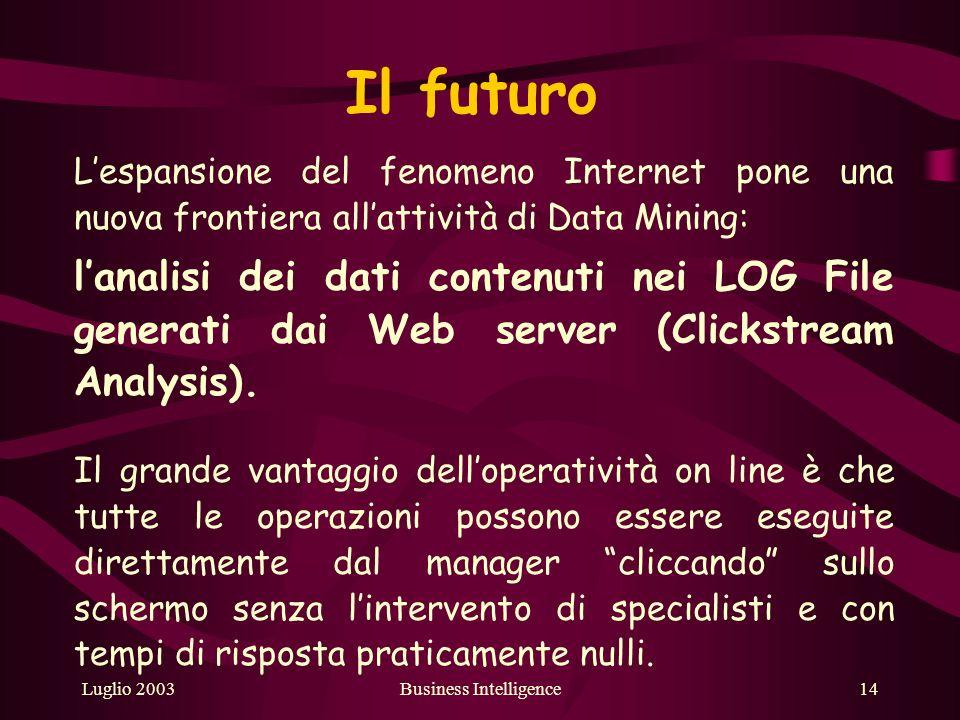 Luglio 2003Business Intelligence14 Il futuro Lespansione del fenomeno Internet pone una nuova frontiera allattività di Data Mining: lanalisi dei dati contenuti nei LOG File generati dai Web server (Clickstream Analysis).