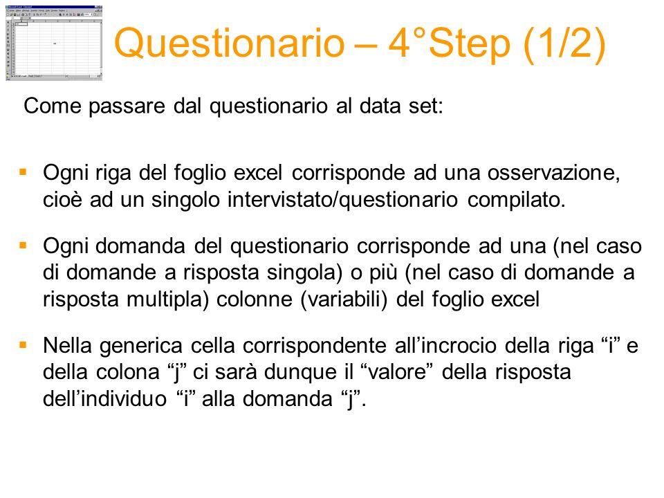 Questionario – 4°Step (1/2) Come passare dal questionario al data set: Ogni riga del foglio excel corrisponde ad una osservazione, cioè ad un singolo