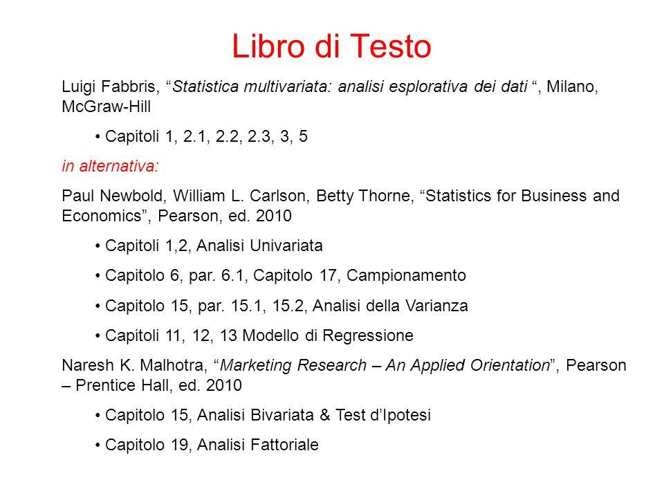 Luigi Fabbris, Statistica multivariata: analisi esplorativa dei dati, Milano, McGraw-Hill Capitoli 1, 2.1, 2.2, 2.3, 3, 5 in alternativa: Paul Newbold, William L.