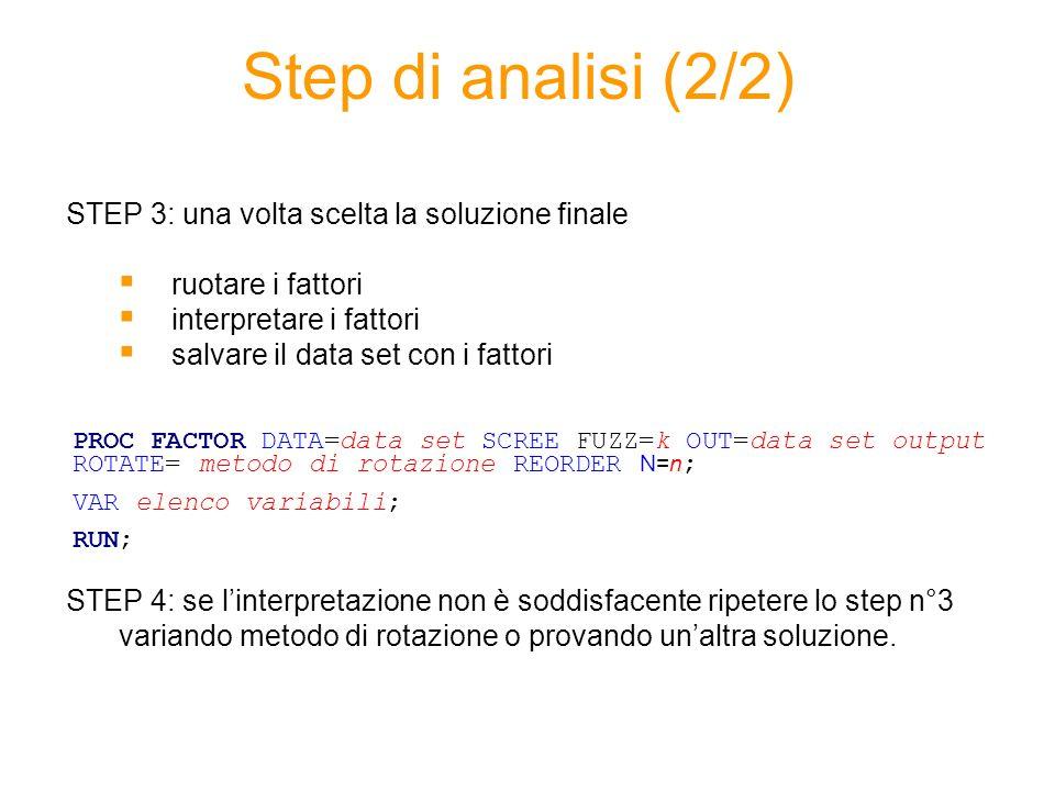 Step di analisi (2/2) STEP 3: una volta scelta la soluzione finale ruotare i fattori interpretare i fattori salvare il data set con i fattori STEP 4: se linterpretazione non è soddisfacente ripetere lo step n°3 variando metodo di rotazione o provando unaltra soluzione.