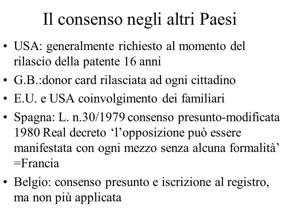 Il consenso negli altri Paesi USA: generalmente richiesto al momento del rilascio della patente 16 anni G.B.:donor card rilasciata ad ogni cittadino E