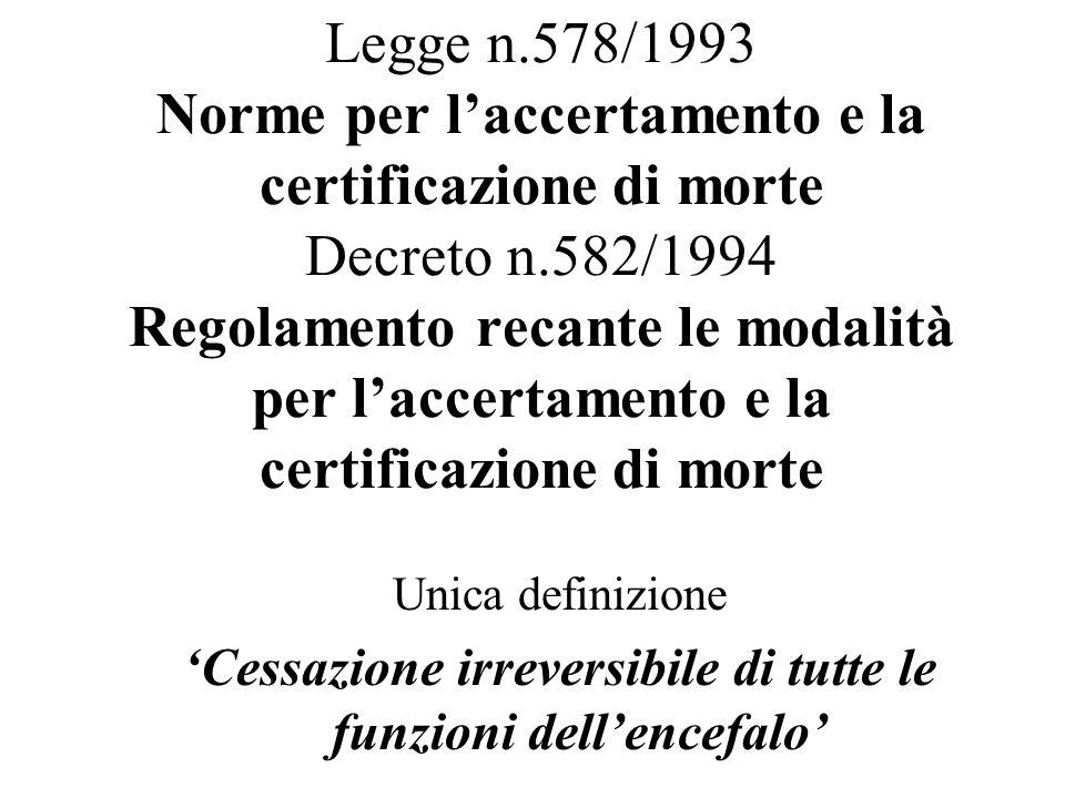 Legge n.578/1993 Norme per laccertamento e la certificazione di morte Decreto n.582/1994 Regolamento recante le modalità per laccertamento e la certif