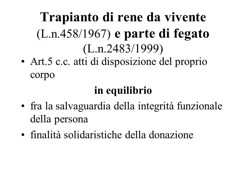 Trapianto di rene da vivente (L.n.458/1967) e parte di fegato (L.n.2483/1999) Art.5 c.c. atti di disposizione del proprio corpo in equilibrio fra la s