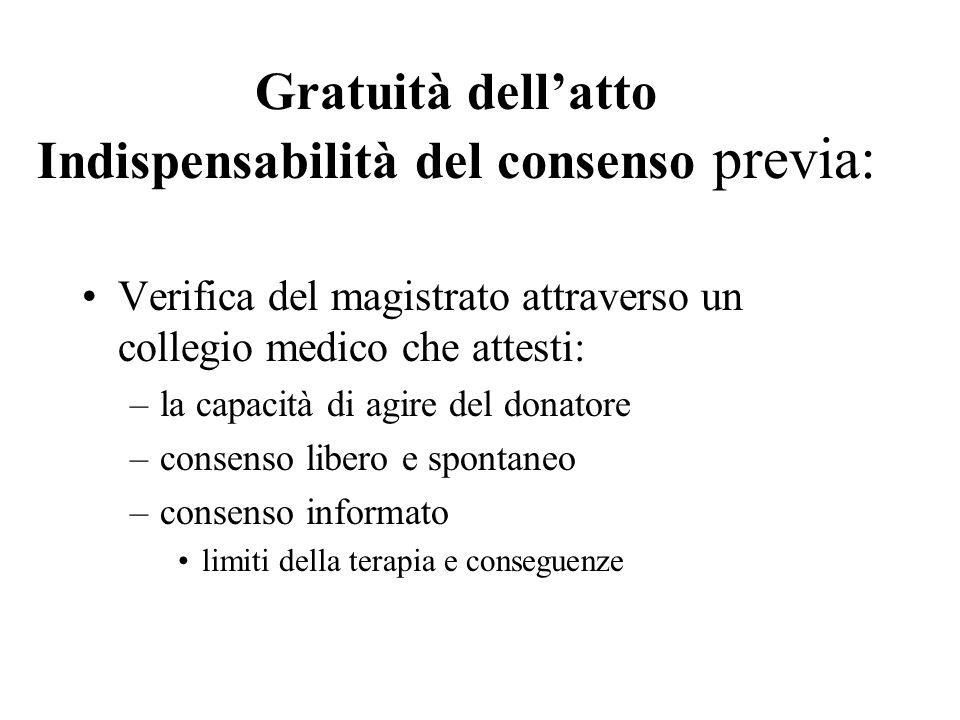 Gratuità dellatto Indispensabilità del consenso previa: Verifica del magistrato attraverso un collegio medico che attesti: –la capacità di agire del d
