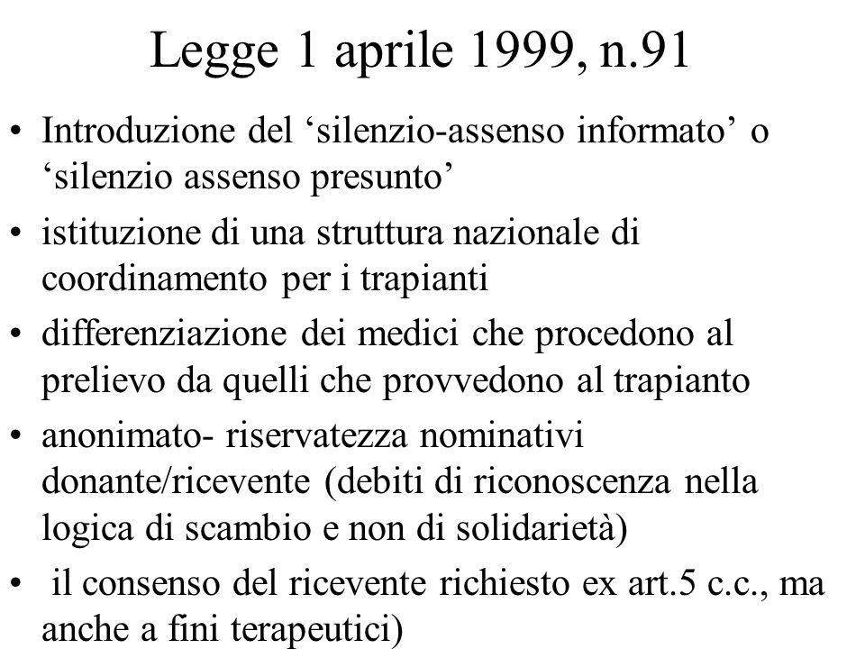 Legge 1 aprile 1999, n.91 Introduzione del silenzio-assenso informato o silenzio assenso presunto istituzione di una struttura nazionale di coordiname