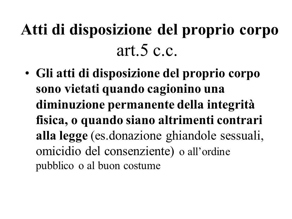 Atti di disposizione del proprio corpo art.5 c.c. Gli atti di disposizione del proprio corpo sono vietati quando cagionino una diminuzione permanente