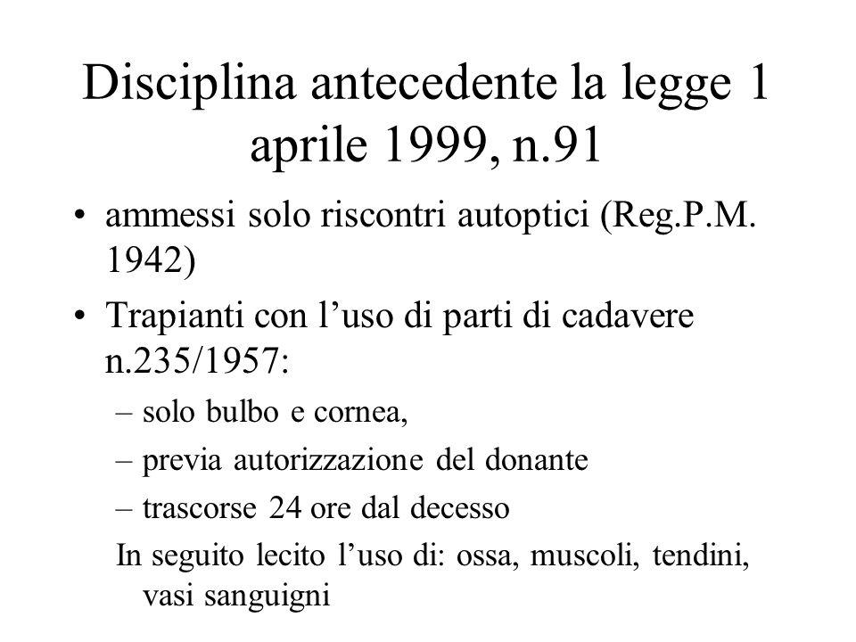 Disciplina antecedente la legge 1 aprile 1999, n.91 ammessi solo riscontri autoptici (Reg.P.M. 1942) Trapianti con luso di parti di cadavere n.235/195