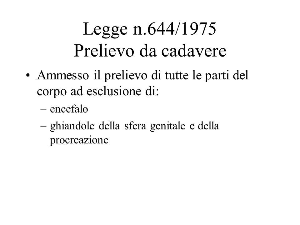 Legge n.644/1975 Prelievo da cadavere Ammesso il prelievo di tutte le parti del corpo ad esclusione di: –encefalo –ghiandole della sfera genitale e de