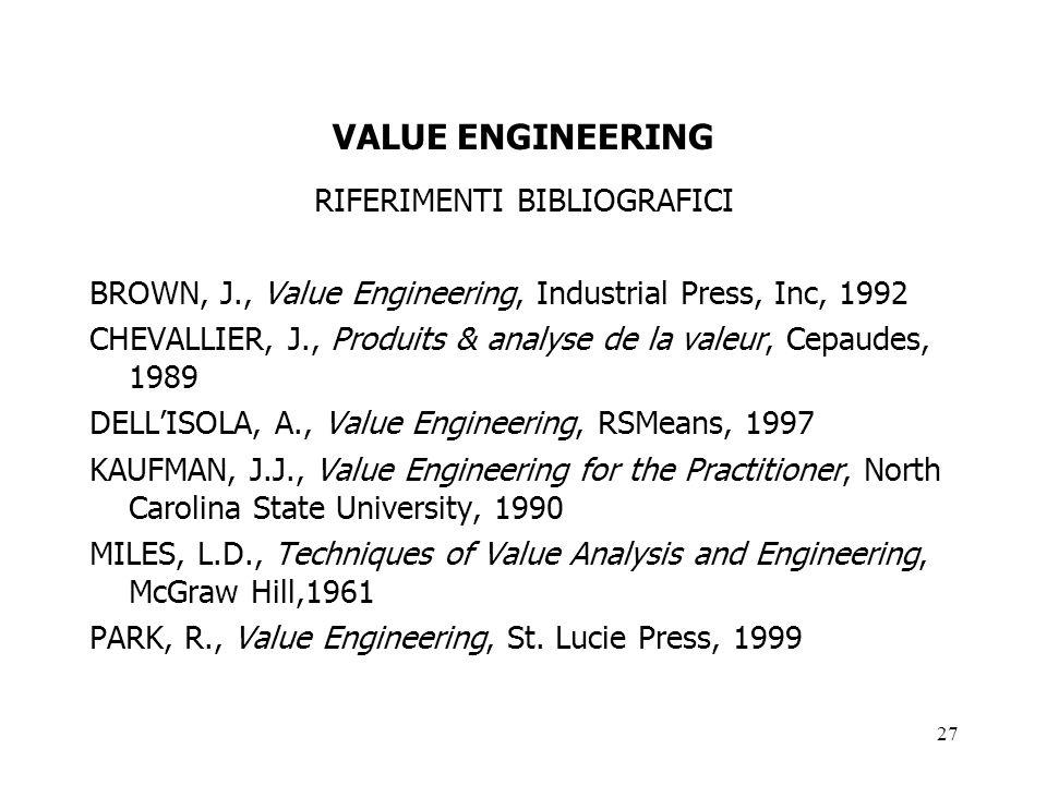 27 VALUE ENGINEERING RIFERIMENTI BIBLIOGRAFICI BROWN, J., Value Engineering, Industrial Press, Inc, 1992 CHEVALLIER, J., Produits & analyse de la vale
