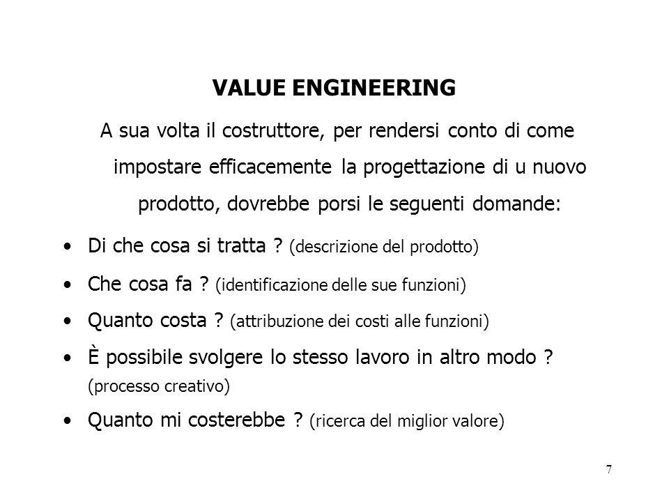 7 VALUE ENGINEERING A sua volta il costruttore, per rendersi conto di come impostare efficacemente la progettazione di u nuovo prodotto, dovrebbe pors