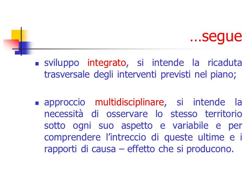 …segue sviluppo integrato, si intende la ricaduta trasversale degli interventi previsti nel piano; approccio multidisciplinare, si intende la necessit