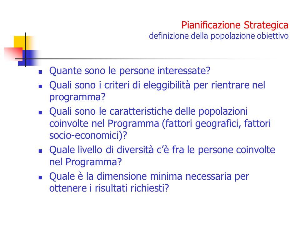 Pianificazione Strategica definizione della popolazione obiettivo Quante sono le persone interessate? Quali sono i criteri di eleggibilità per rientra