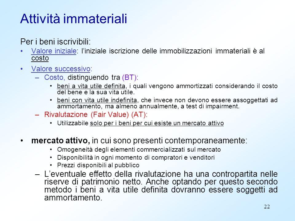 22 Attività immateriali Per i beni iscrivibili: Valore iniziale: liniziale iscrizione delle immobilizzazioni immateriali è al costo Valore successivo: