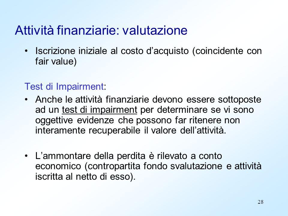 28 Attività finanziarie: valutazione Iscrizione iniziale al costo dacquisto (coincidente con fair value) Test di Impairment: Anche le attività finanzi
