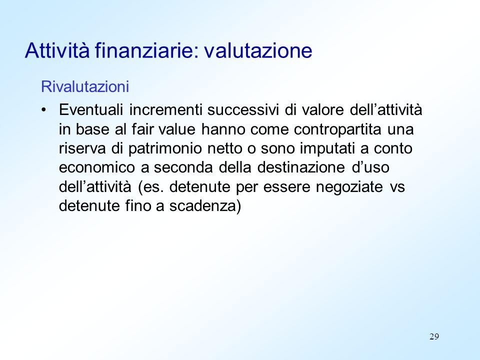 29 Attività finanziarie: valutazione Rivalutazioni Eventuali incrementi successivi di valore dellattività in base al fair value hanno come controparti