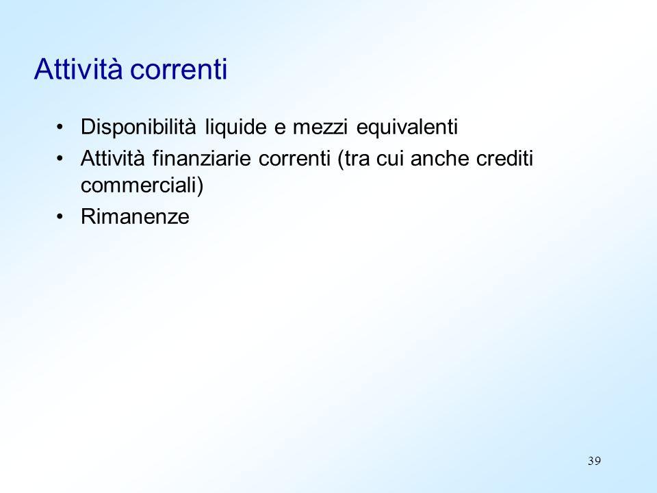 39 Attività correnti Disponibilità liquide e mezzi equivalenti Attività finanziarie correnti (tra cui anche crediti commerciali) Rimanenze