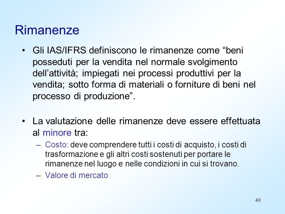 40 Rimanenze Gli IAS/IFRS definiscono le rimanenze come beni posseduti per la vendita nel normale svolgimento dellattività; impiegati nei processi pro