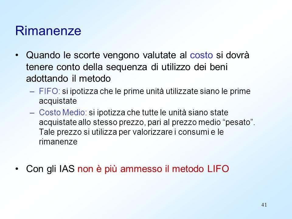 41 Rimanenze Quando le scorte vengono valutate al costo si dovrà tenere conto della sequenza di utilizzo dei beni adottando il metodo –FIFO: si ipotiz