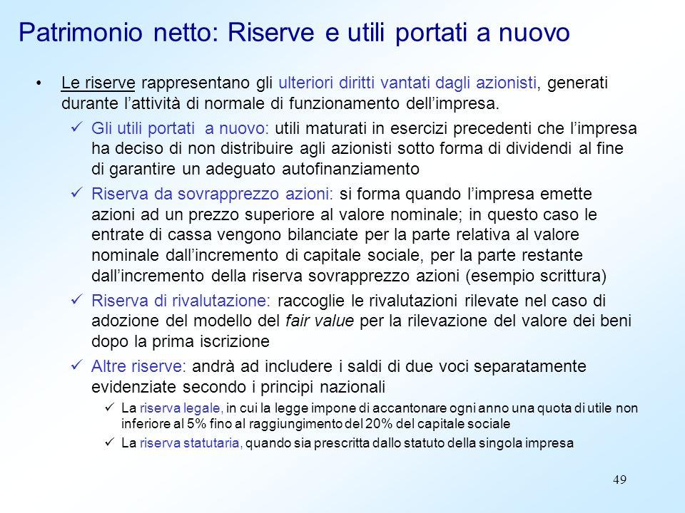 49 Patrimonio netto: Riserve e utili portati a nuovo Le riserve rappresentano gli ulteriori diritti vantati dagli azionisti, generati durante lattivit