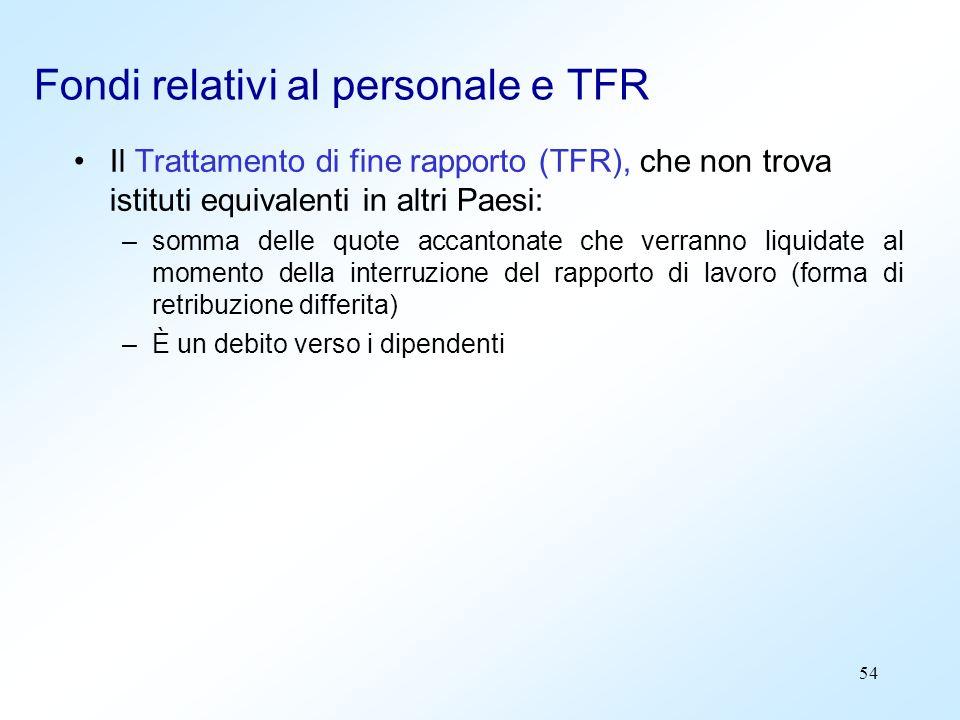 54 Fondi relativi al personale e TFR Il Trattamento di fine rapporto (TFR), che non trova istituti equivalenti in altri Paesi: –somma delle quote acca