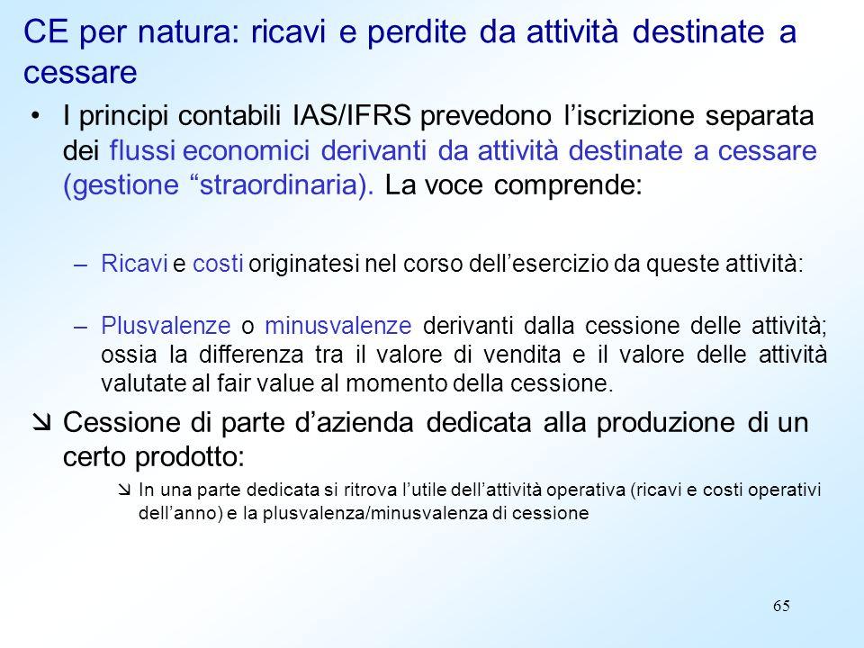 65 CE per natura: ricavi e perdite da attività destinate a cessare I principi contabili IAS/IFRS prevedono liscrizione separata dei flussi economici d