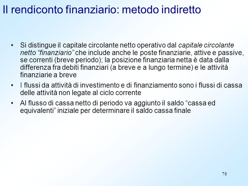 78 Il rendiconto finanziario: metodo indiretto Si distingue il capitale circolante netto operativo dal capitale circolante netto finanziario che inclu