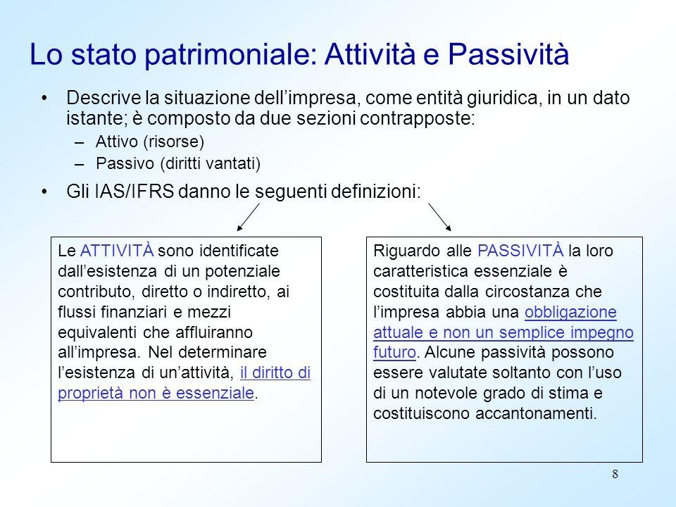 8 Lo stato patrimoniale: Attività e Passività Descrive la situazione dellimpresa, come entità giuridica, in un dato istante; è composto da due sezioni